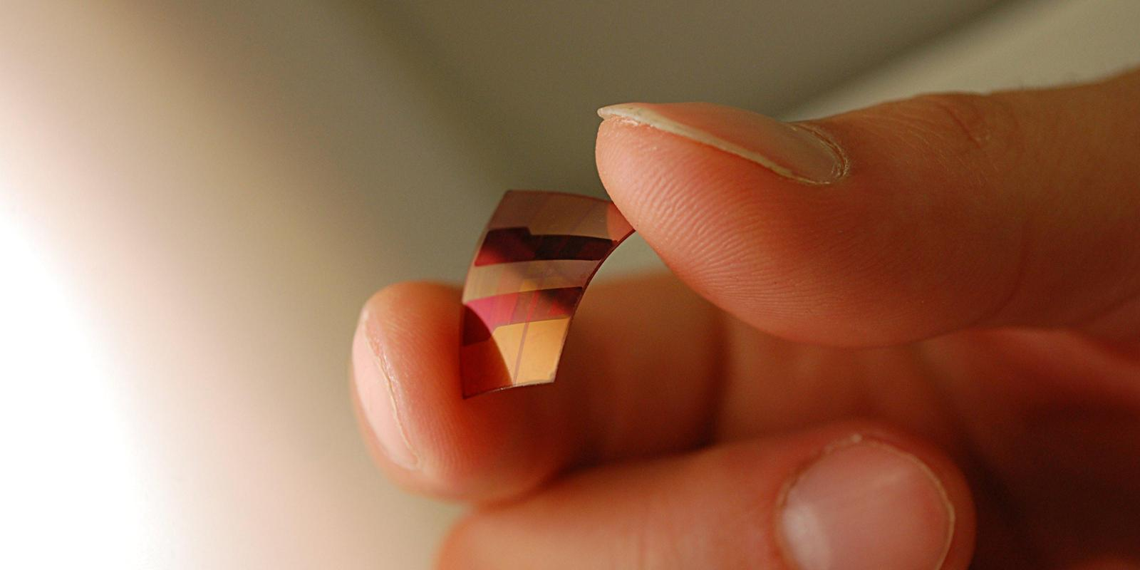 Photograph: Flexible photovoltaics (photo by Lucy Pickford).