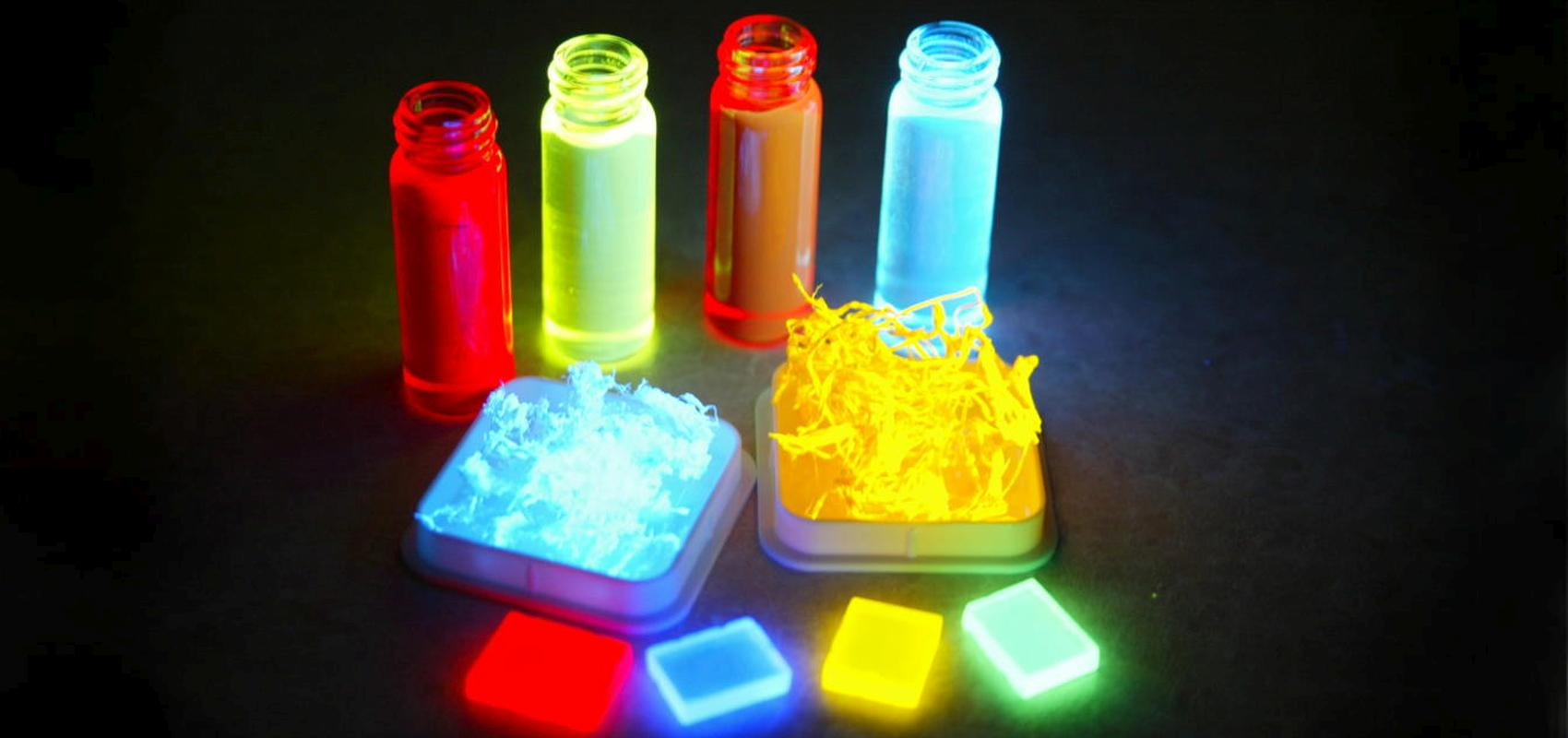 Photograph: Fluorescent materials used in organic photonic devices.