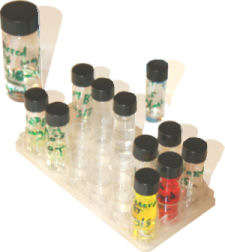 Solutions in vials.